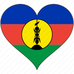 flag, flags, heart, new caledonia icon