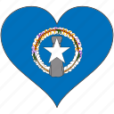 flag, flags, heart, northern mariana islands icon
