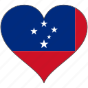 flag, heart, samoa, flags icon
