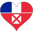 flag, heart, wallis and futuna, flags