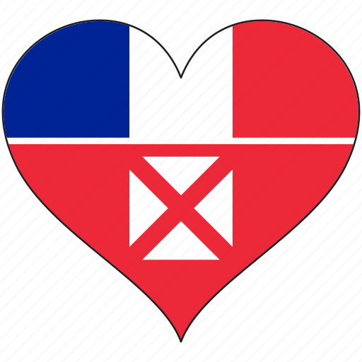 flag, flags, heart, wallis and futuna icon