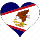 american samoa, flag, heart, country
