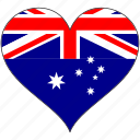 australia, country, flag, heart icon
