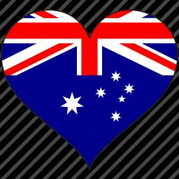 australia, country, flag, heart icon