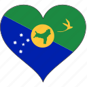 chrismas island, country, flag, heart icon