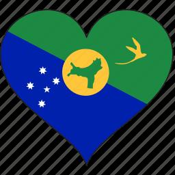 chrismas island, country, flag, heart icon