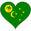 cocos islands, flag, heart, country
