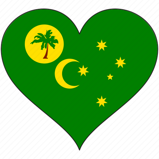 cocos islands, country, flag, heart icon