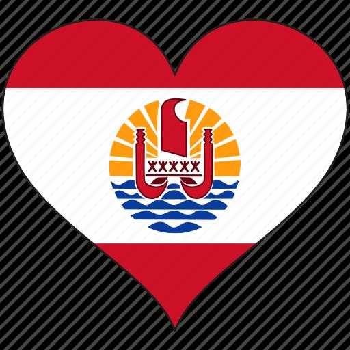 flag, flags, french polynesia, heart icon