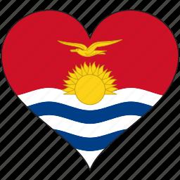 flag, flags, heart, kiribati icon