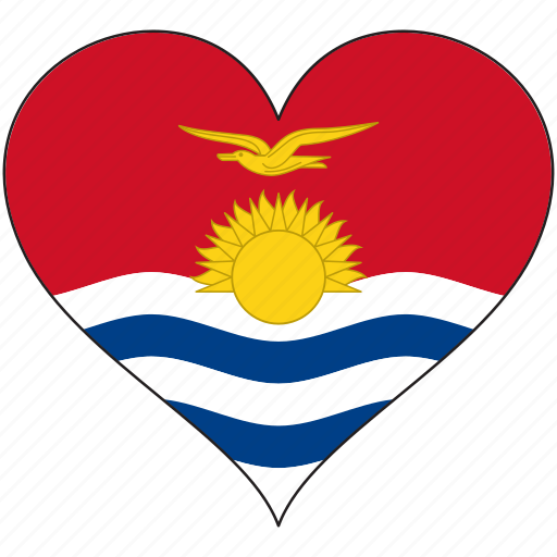flag, flags, heart, kiribati icon