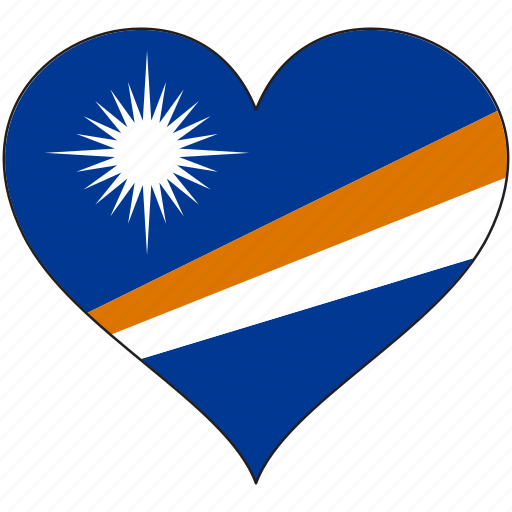 flag, flags, heart, marshall islands icon