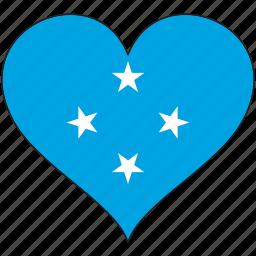 flag, flags, heart, micronesia icon