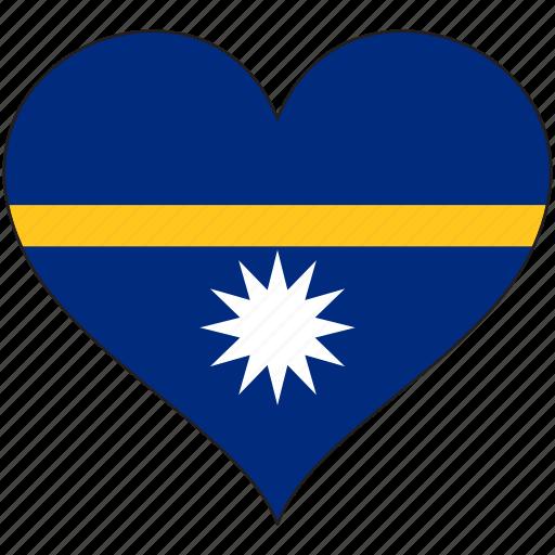 flag, flags, heart, nauru icon