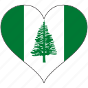 flag, heart, norfolk island, national