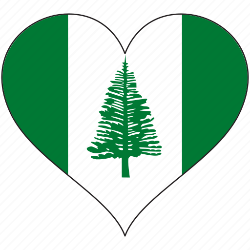 flag, heart, national, norfolk island icon
