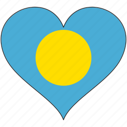 flag, flags, heart, palau icon