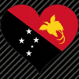 flag, heart, national, papua new guinea icon