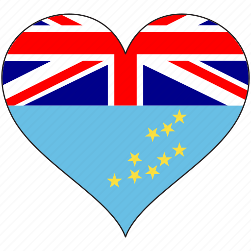 flag, flags, heart, tuvalu icon