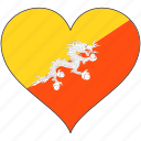 bhutan, flag, heart, flags