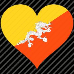 bhutan, flag, flags, heart icon