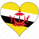 brunei, flag, heart, country