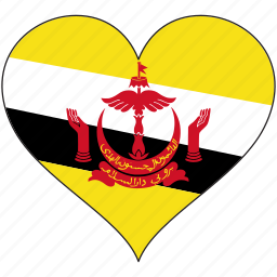brunei, country, flag, heart icon
