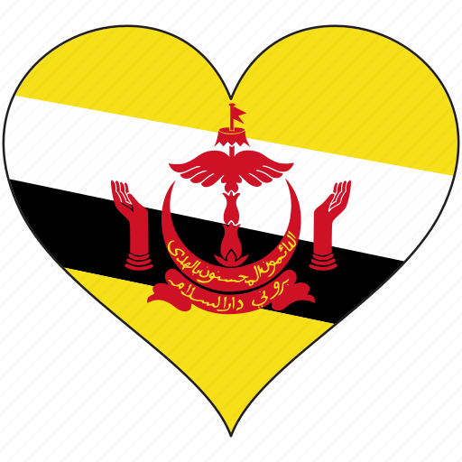 Brunei, flag, heart, country icon - Download on Iconfinder
