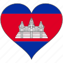 cambodia, flag, heart, flags