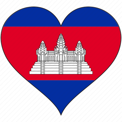 cambodia, flag, flags, heart icon