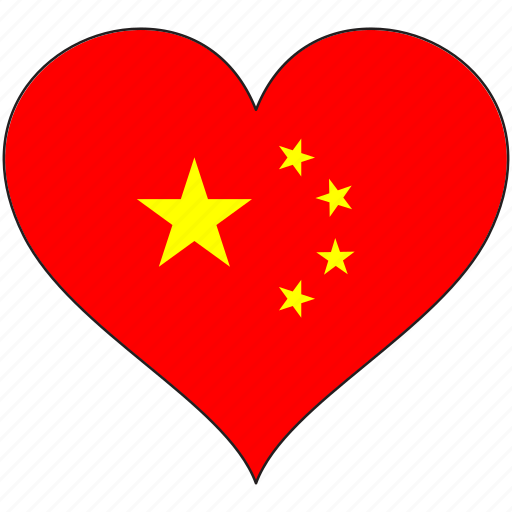 china, country, flag, heart icon
