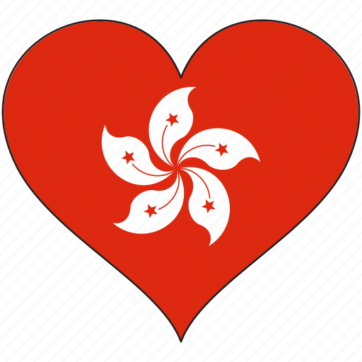 flag, heart, hong kong, national icon