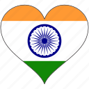 flag, heart, india, national