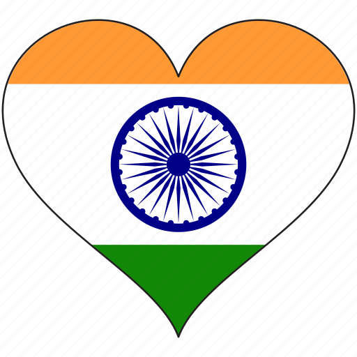 flag, heart, india, national icon