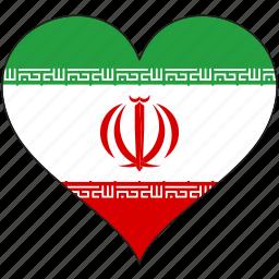 flag, heart, iran, national icon