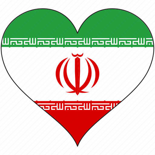 flag, heart, iran, national icon