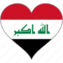 flag, heart, iraq, national icon