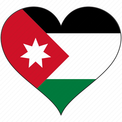 flag, heart, jordan, national icon