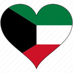 country, flag, heart, kuwait icon