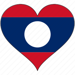 country, flag, heart, laos icon