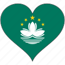 country, flag, heart, macau icon