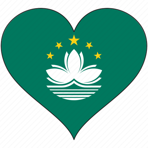 country, flag, heart, macau icon