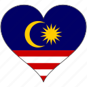 flag, heart, malaysia, national icon