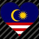 flag, heart, malaysia, national