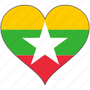 flag, heart, myanmar, country