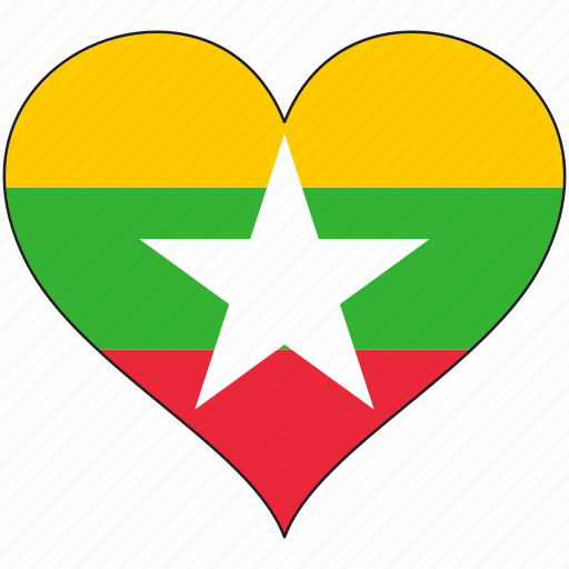 country, flag, heart, myanmar icon