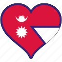 flag, heart, national, nepal icon