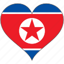 flag, flags, heart, north korea icon