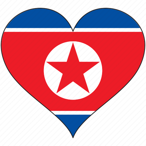 flag, flags, heart, north korea icon