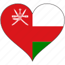 flag, heart, oman, national